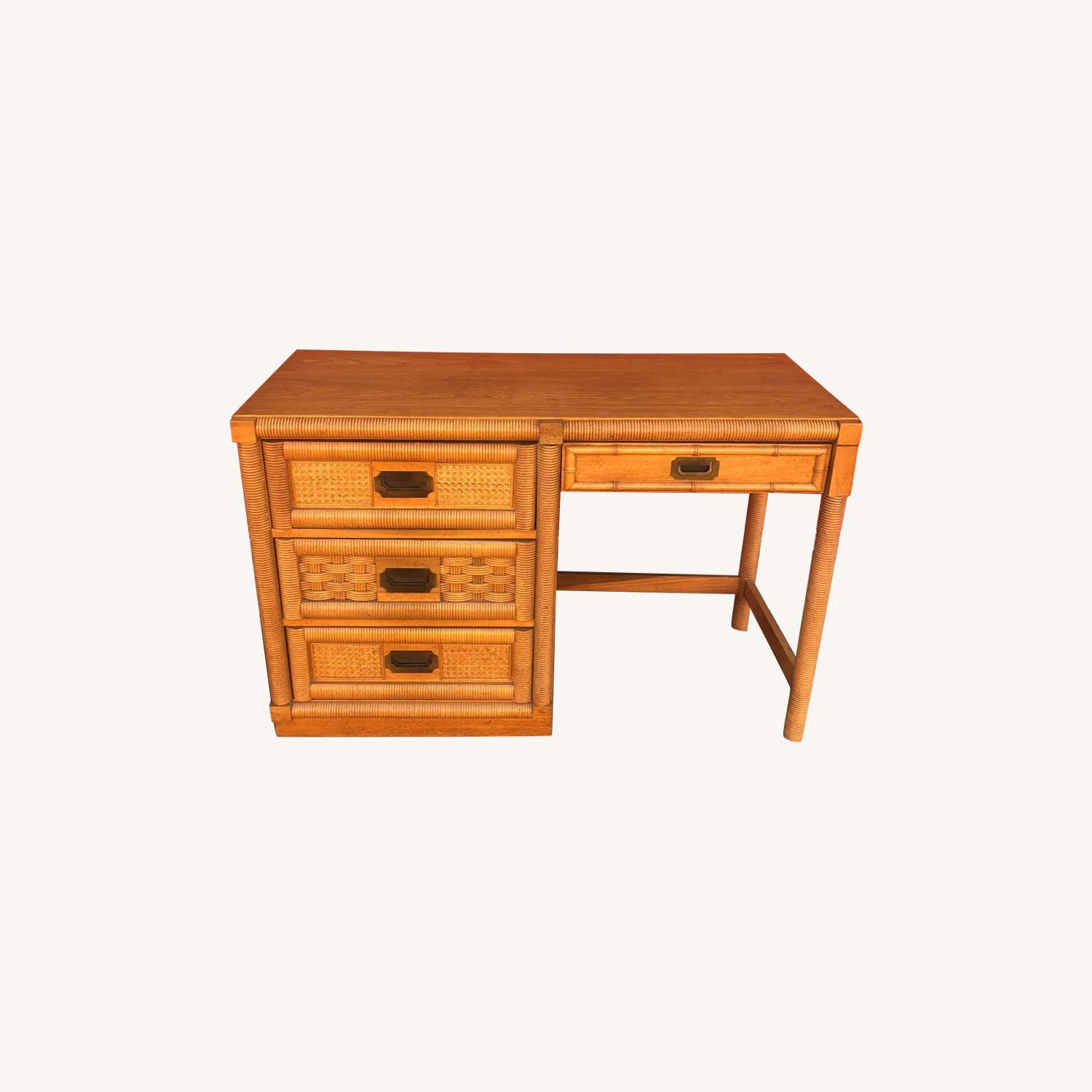 Vintage Campaign Style Writing Desk with 4 Drawers - image-0