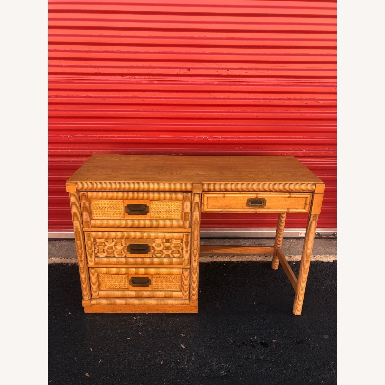Vintage Campaign Style Writing Desk with 4 Drawers - image-6