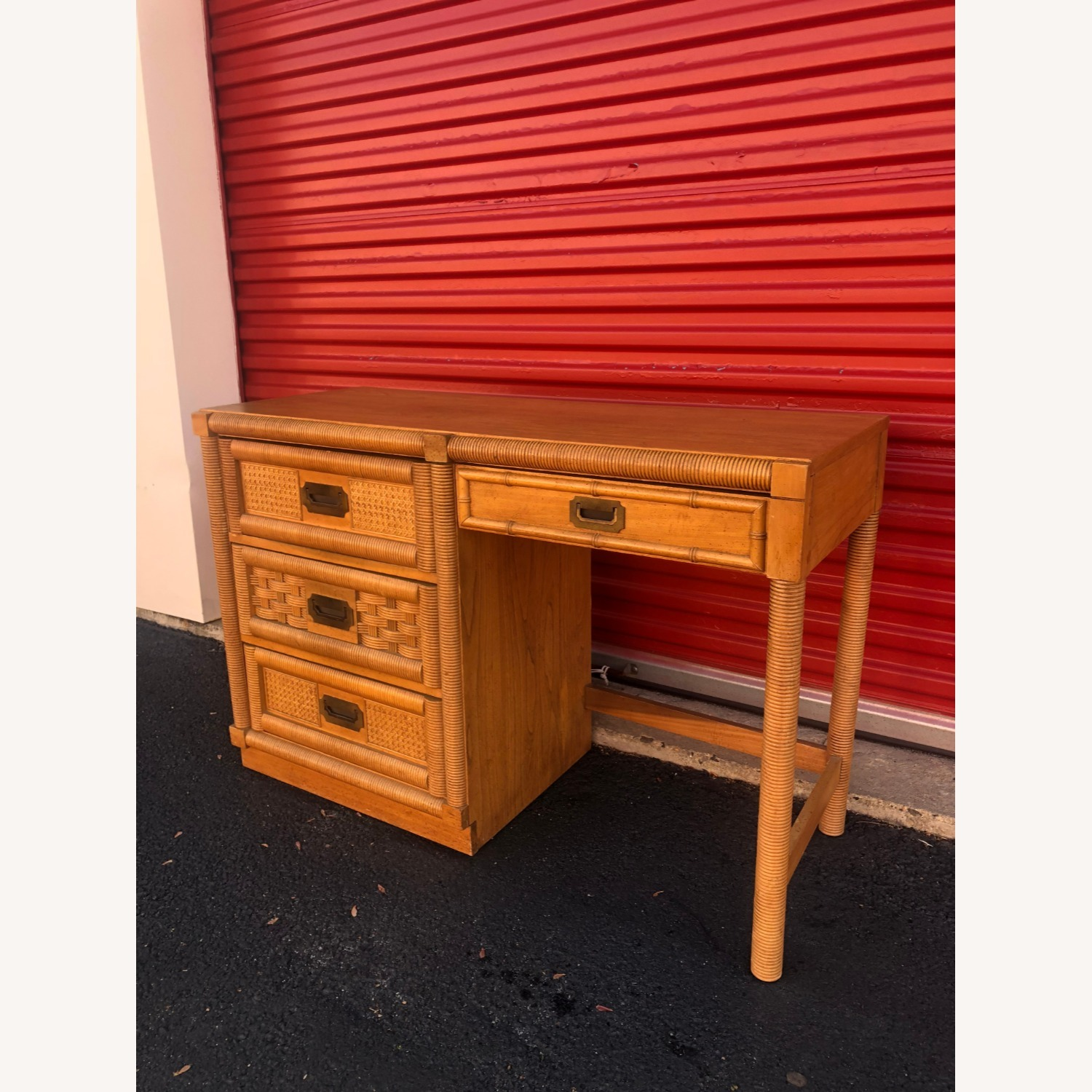 Vintage Campaign Style Writing Desk with 4 Drawers - image-2