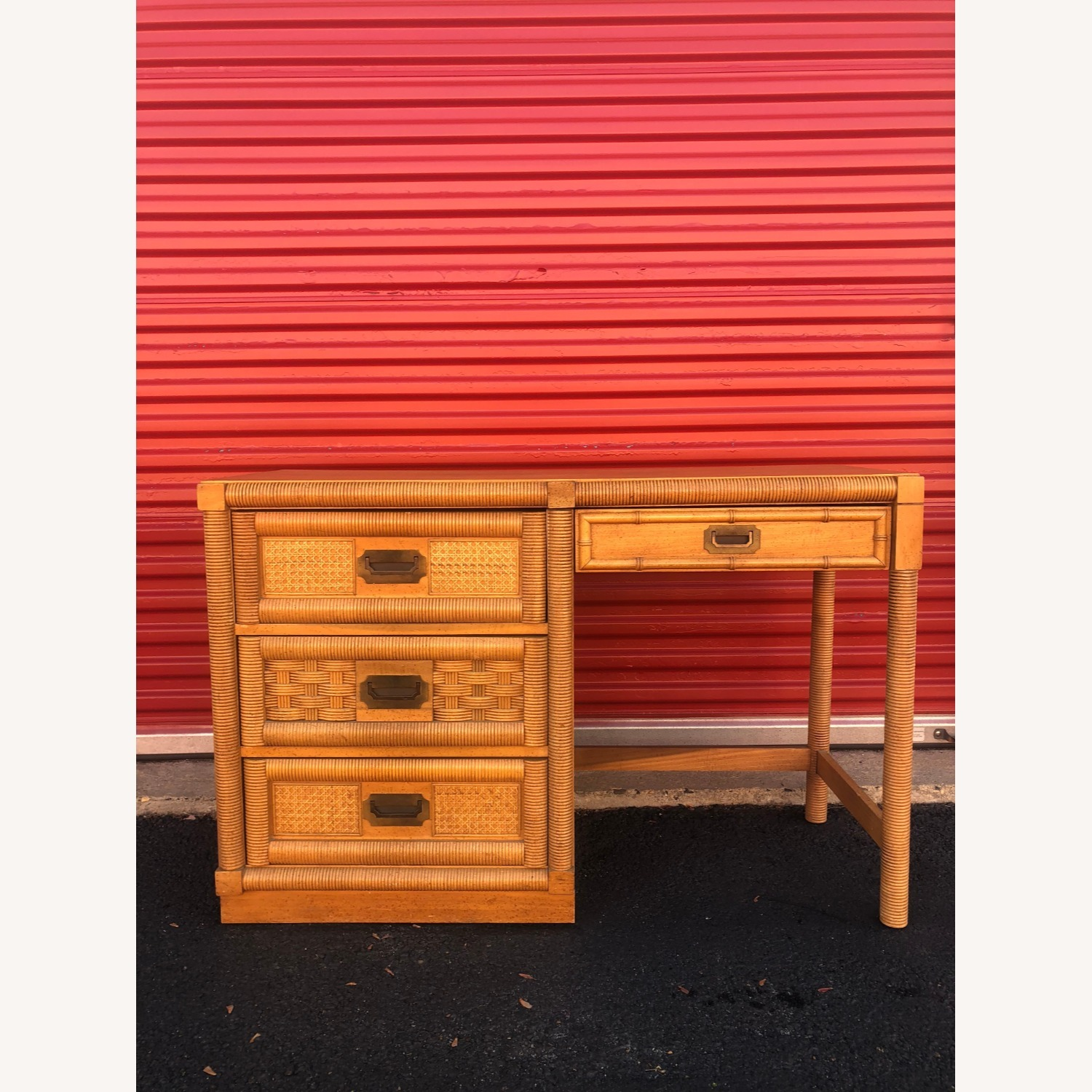 Vintage Campaign Style Writing Desk with 4 Drawers - image-4