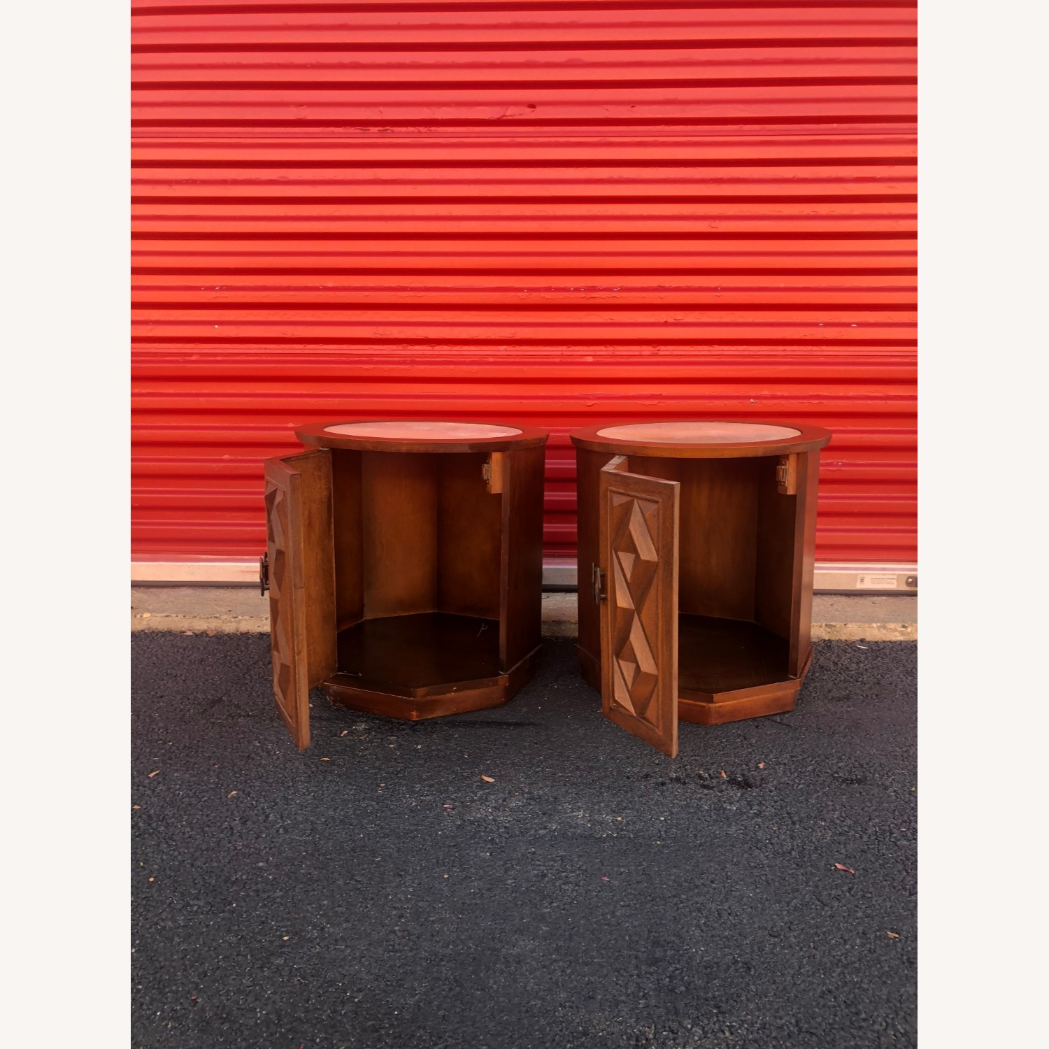 Pair Mid Century Travertine Top Walnut End Tables - image-9