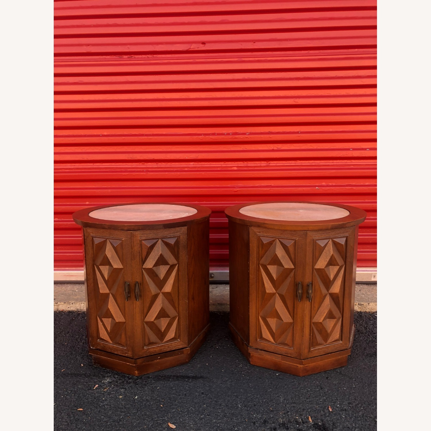 Pair Mid Century Travertine Top Walnut End Tables - image-2