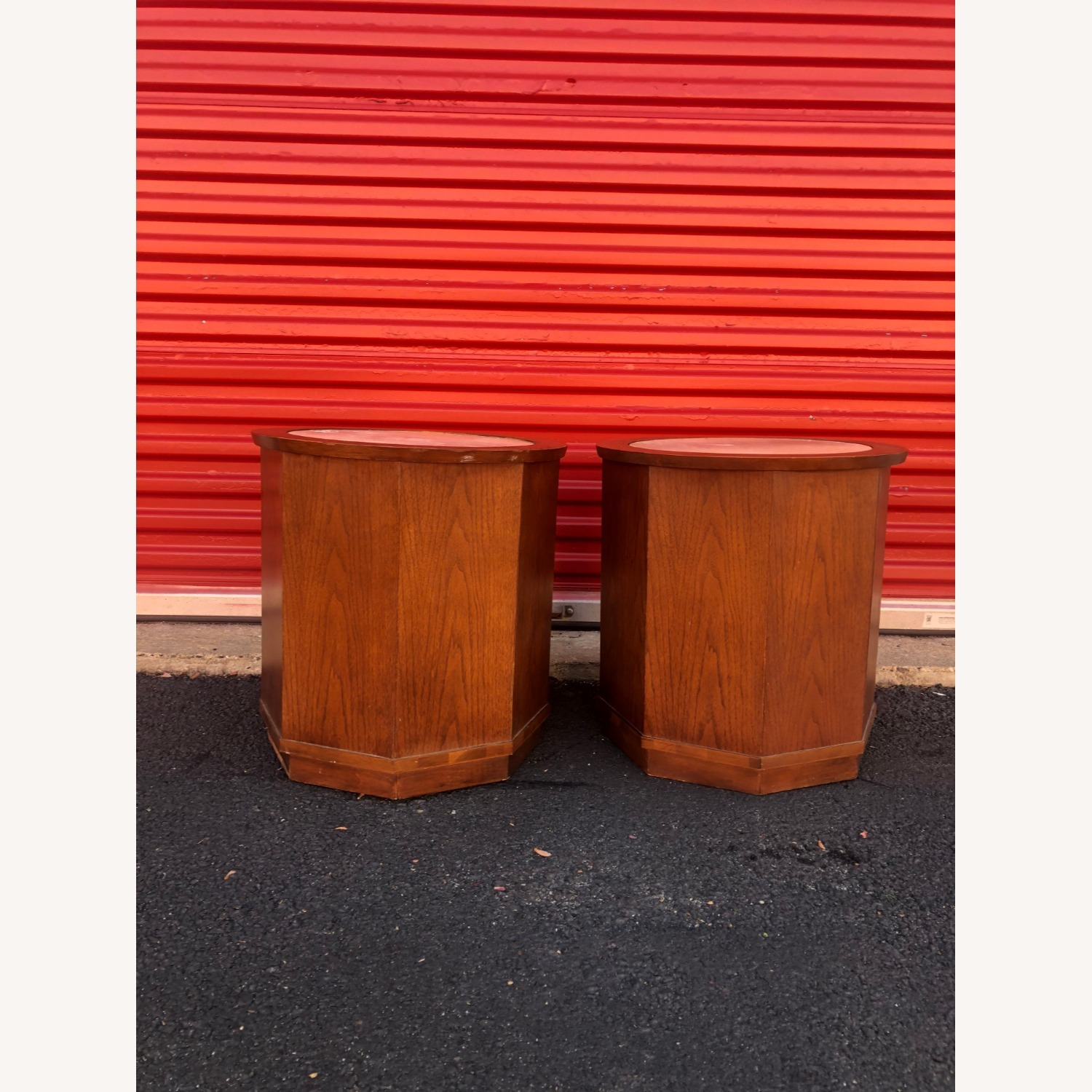 Pair Mid Century Travertine Top Walnut End Tables - image-8