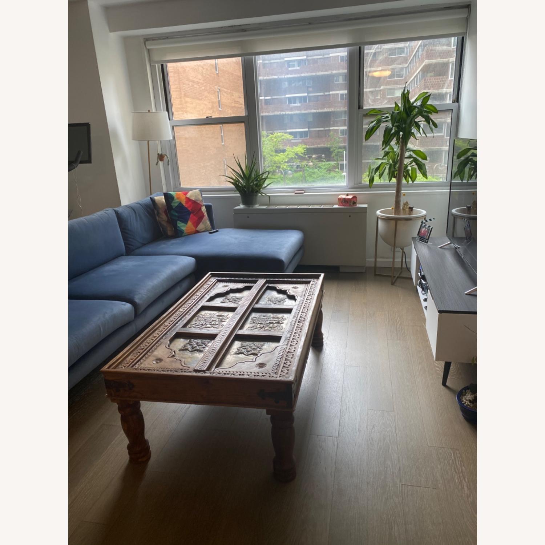 Antique Door Coffee Table Dark Wood and Brass - image-1