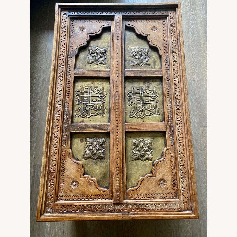 Antique Door Coffee Table Dark Wood and Brass - image-8