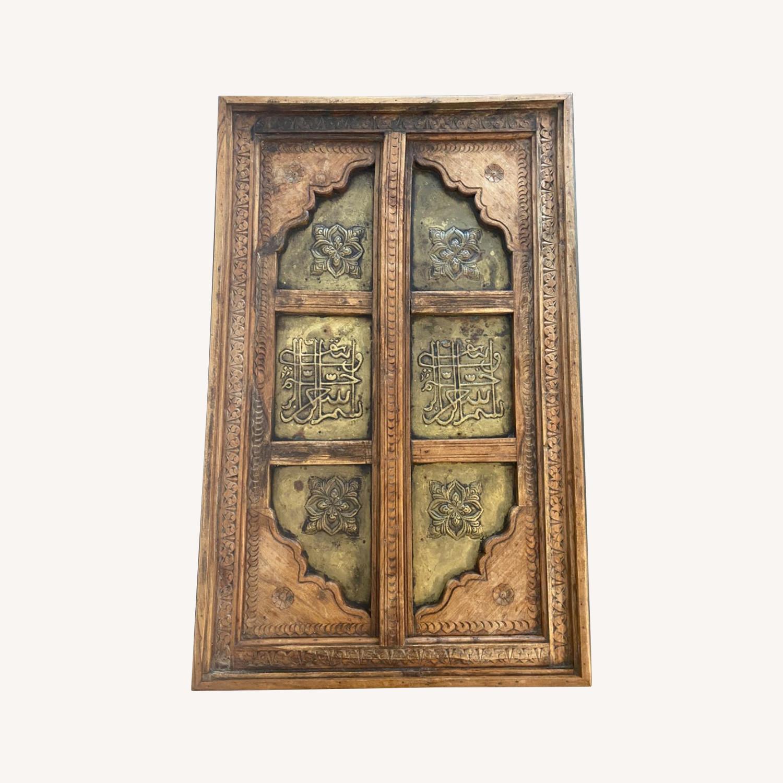 Antique Door Coffee Table Dark Wood and Brass - image-0
