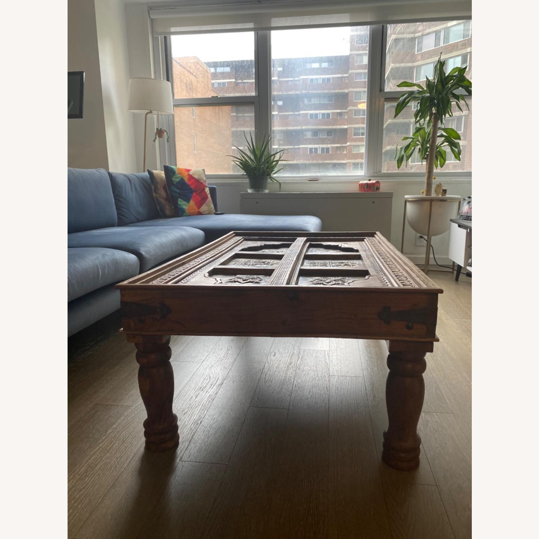 Antique Door Coffee Table Dark Wood and Brass - image-7