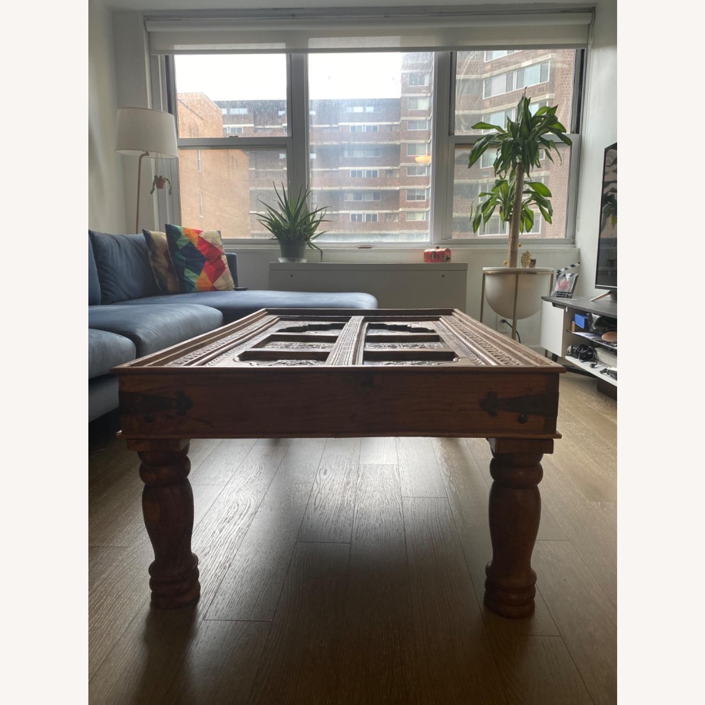 Antique Door Coffee Table Dark Wood and Brass - image-4
