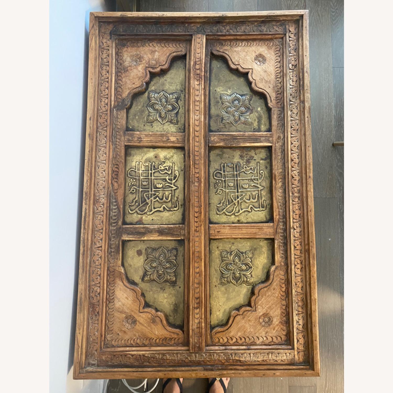 Antique Door Coffee Table Dark Wood and Brass - image-3