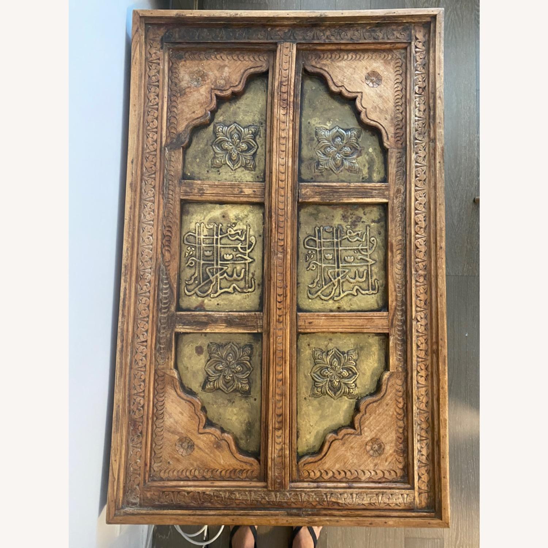 Antique Door Coffee Table Dark Wood and Brass - image-5