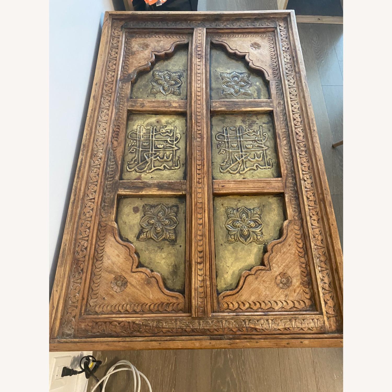 Antique Door Coffee Table Dark Wood and Brass - image-6