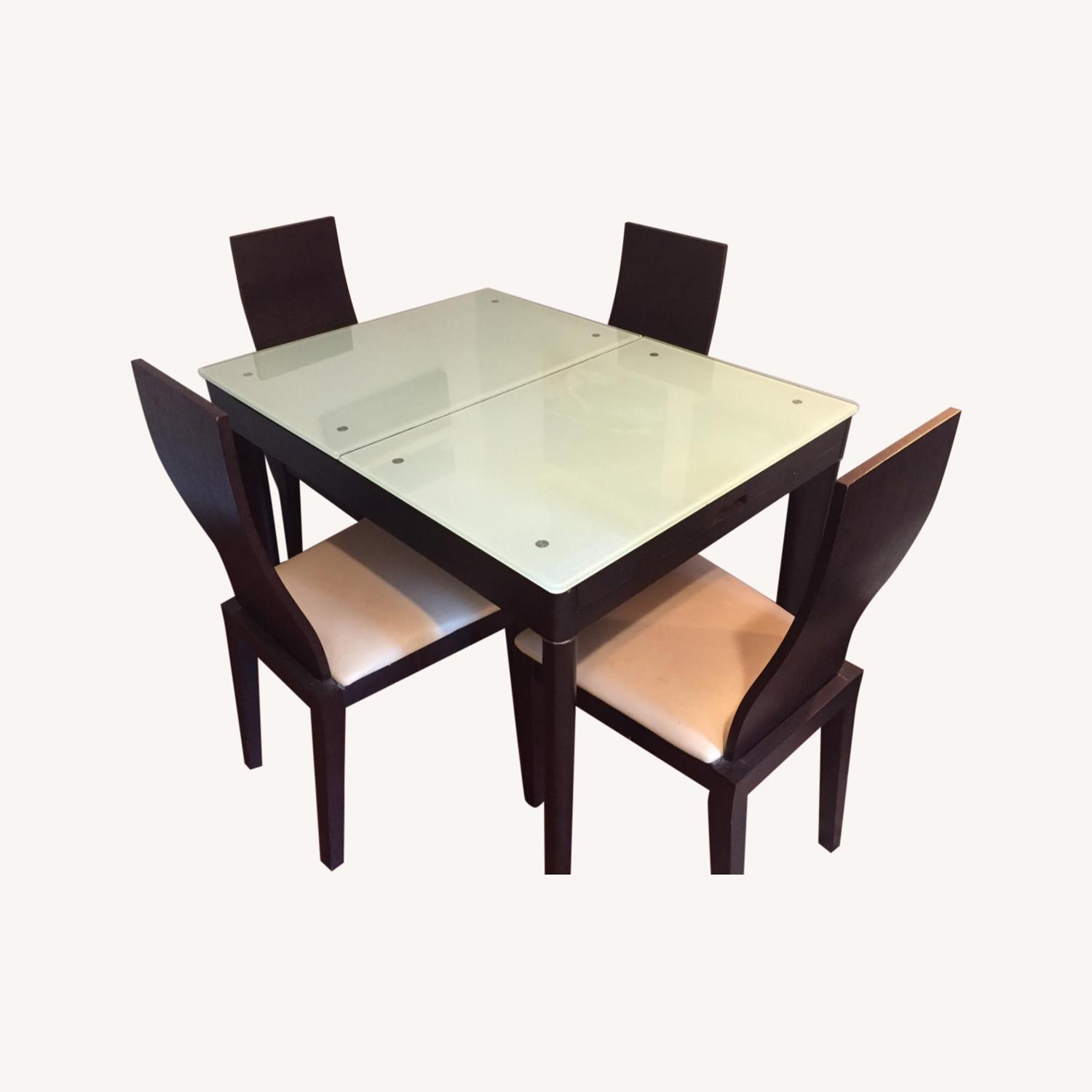Calligaris Italian Extendable Dining Table Set with 4 Chairs - image-0