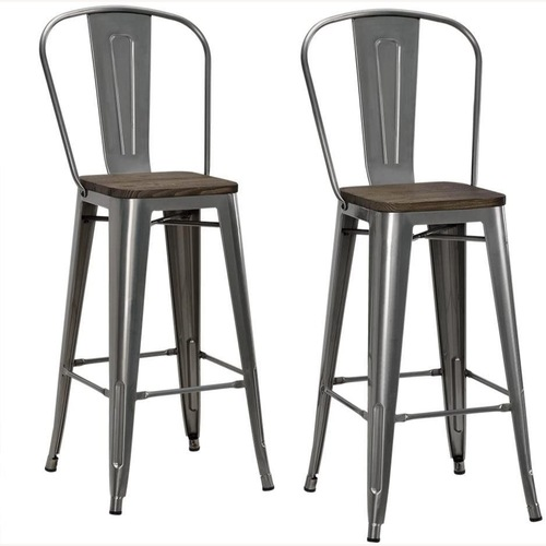 Used DHP Luxor Counter Stools with Wood Seats, Set of 2 for sale on AptDeco