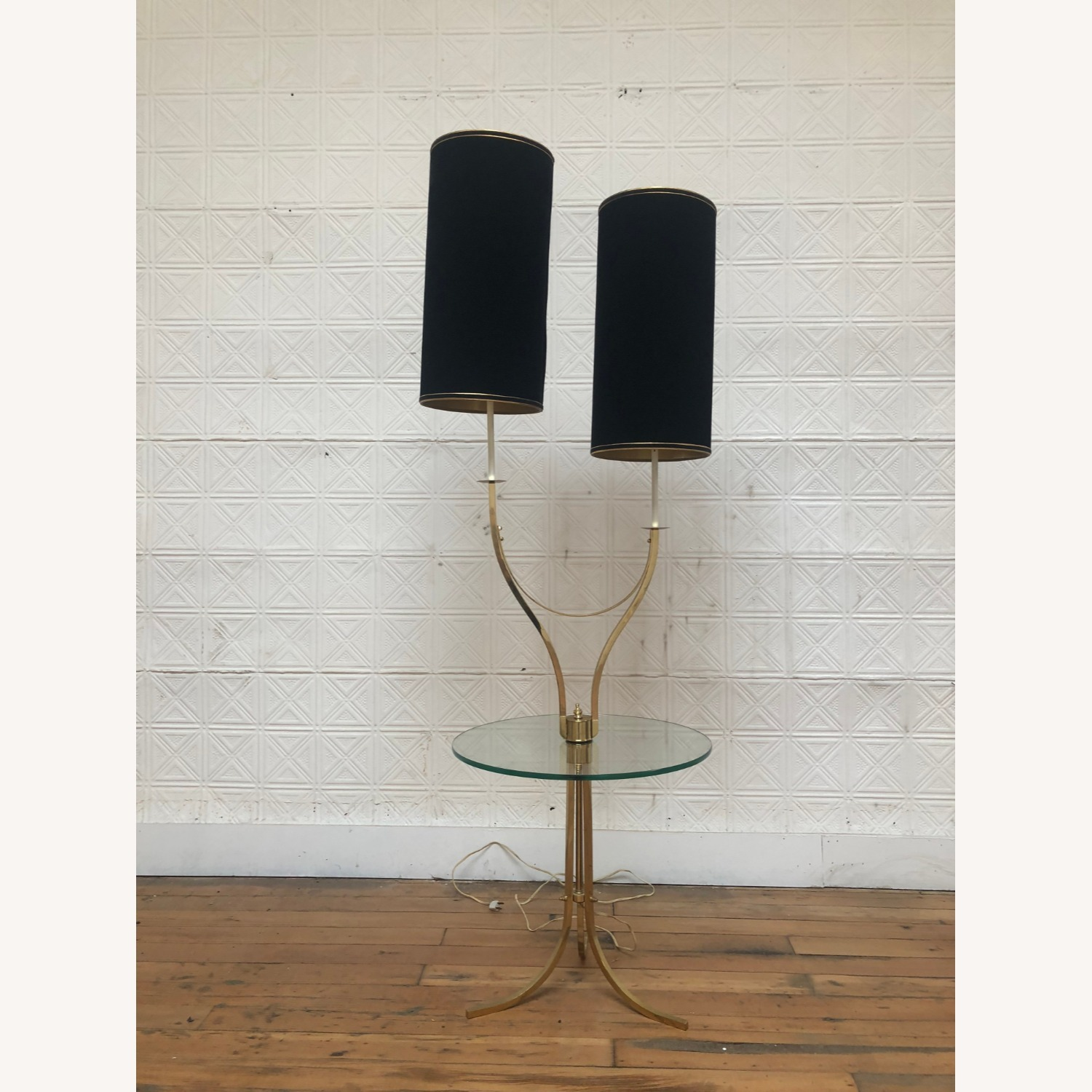 Mid Century Brass & Glass Floor Lamp with Table - image-9
