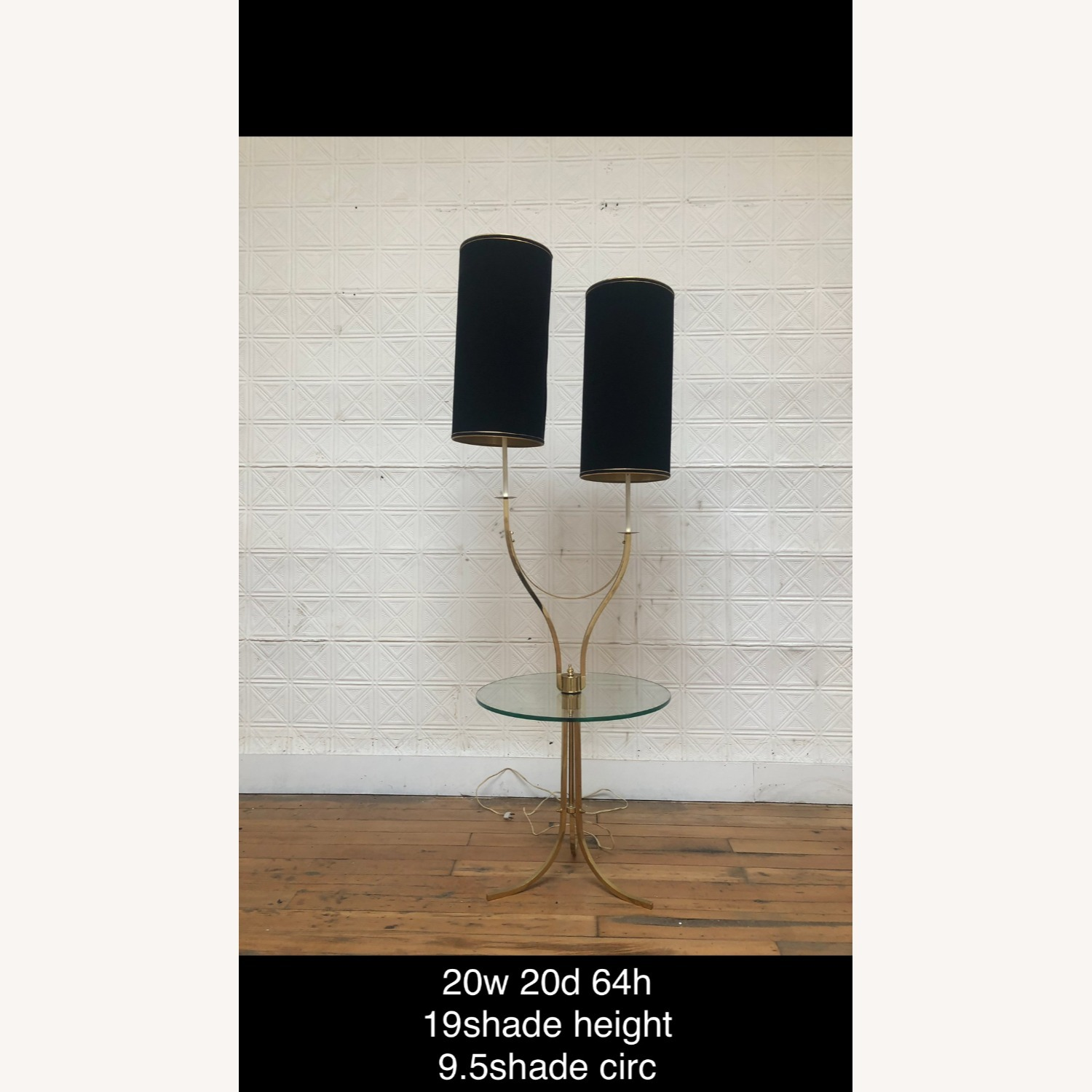 Mid Century Brass & Glass Floor Lamp with Table - image-1