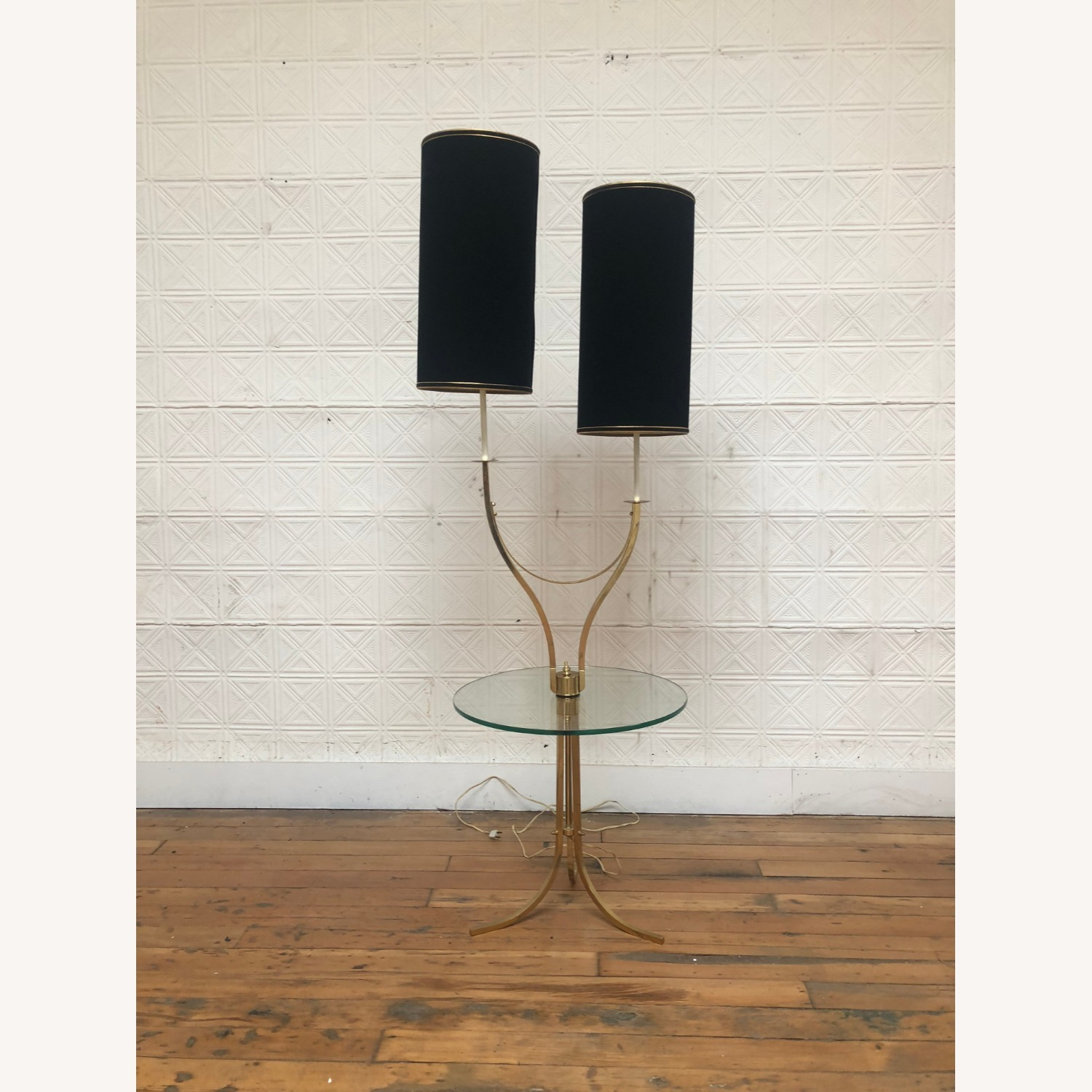Mid Century Brass & Glass Floor Lamp with Table - image-6
