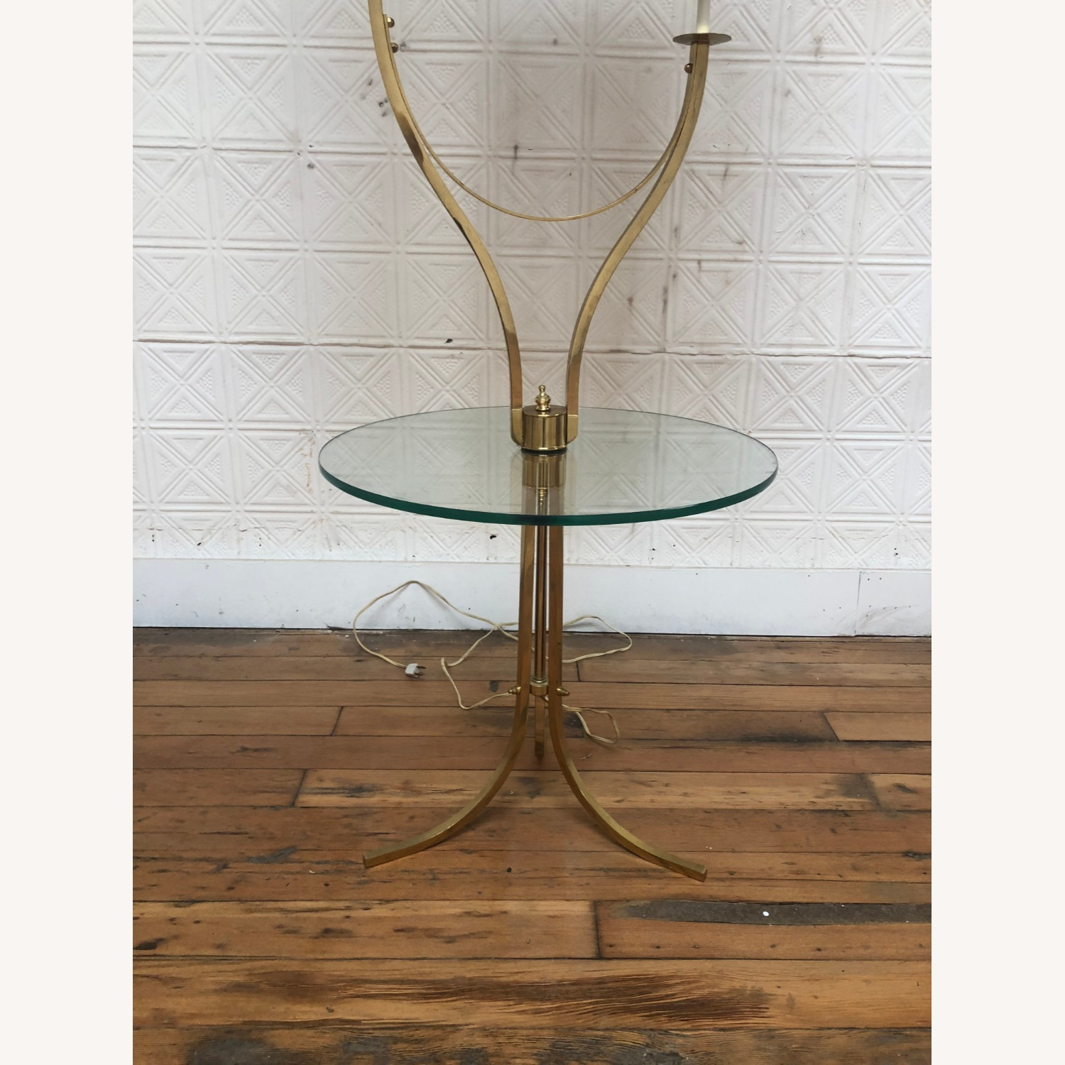 Mid Century Brass & Glass Floor Lamp with Table - image-12