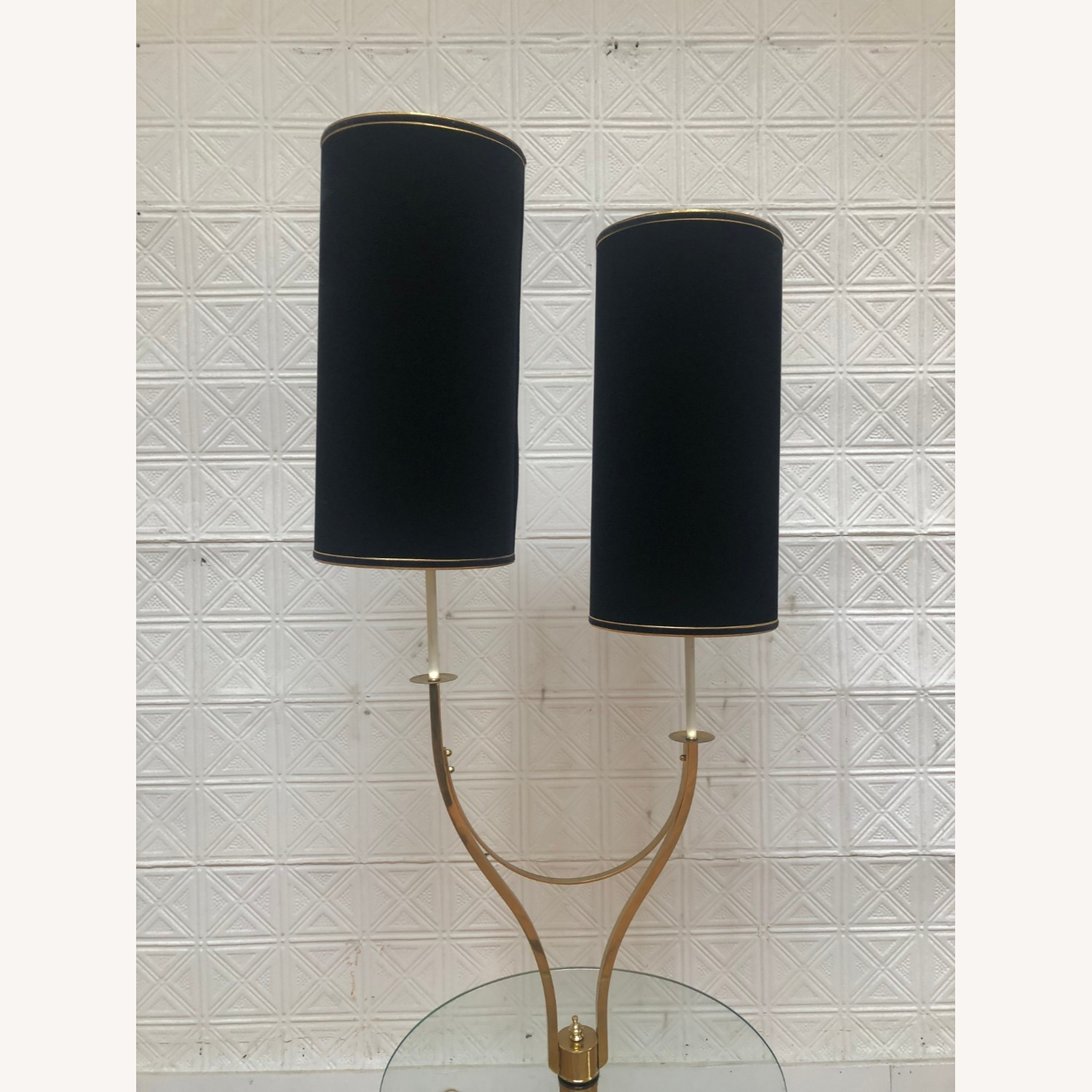 Mid Century Brass & Glass Floor Lamp with Table - image-10