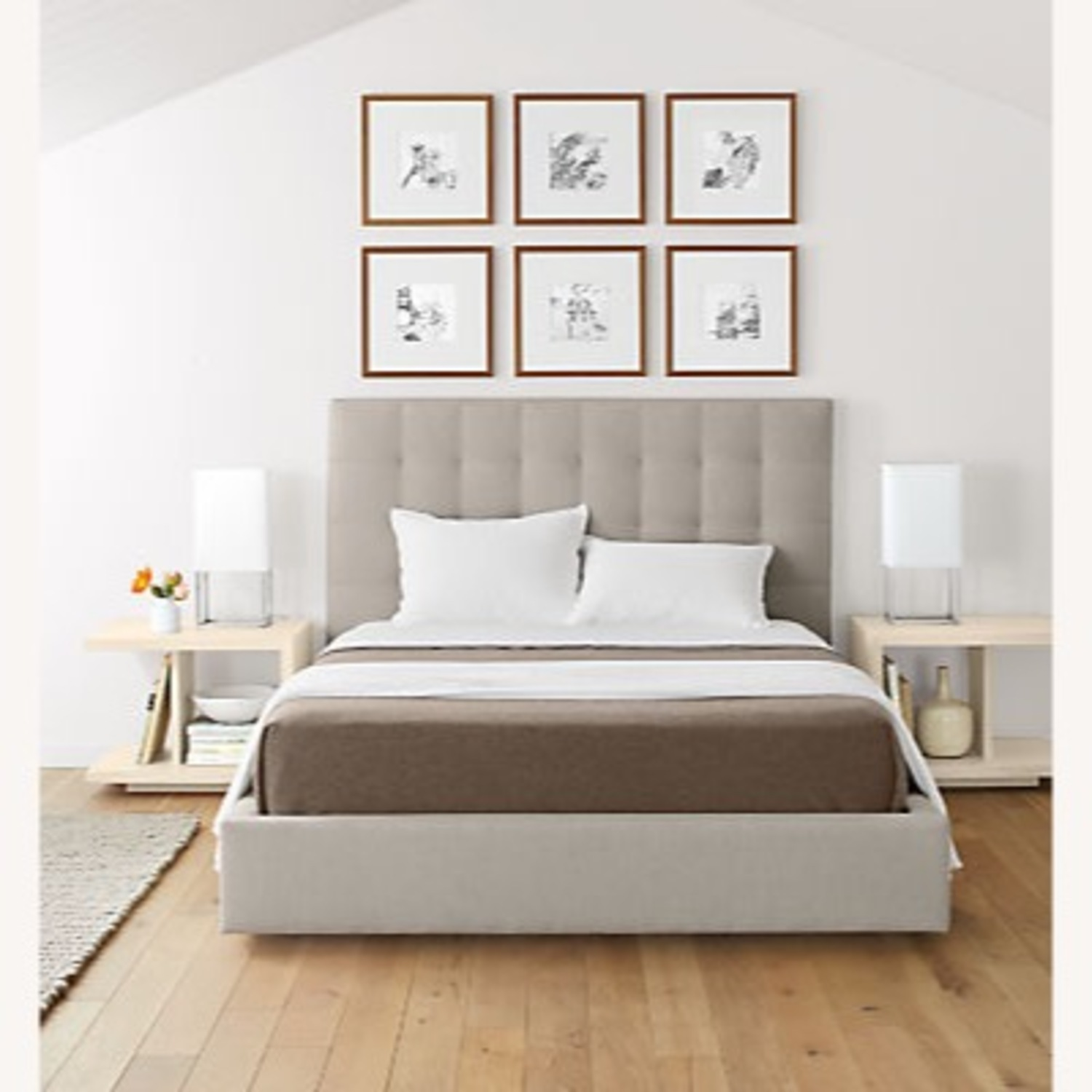 Room & Board Queen Size Light Grey Avery Bed - image-7