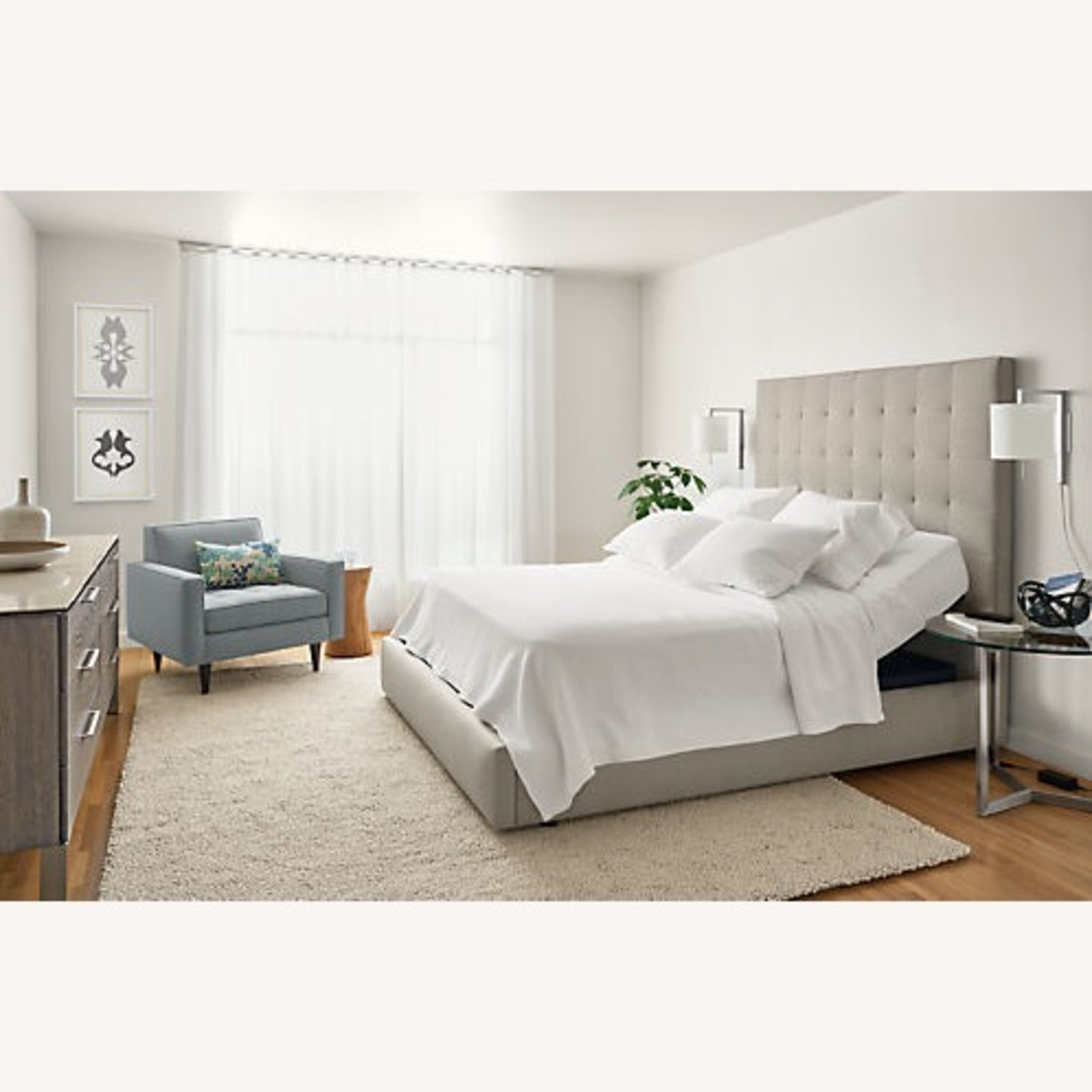 Room & Board Queen Size Light Grey Avery Bed - image-6