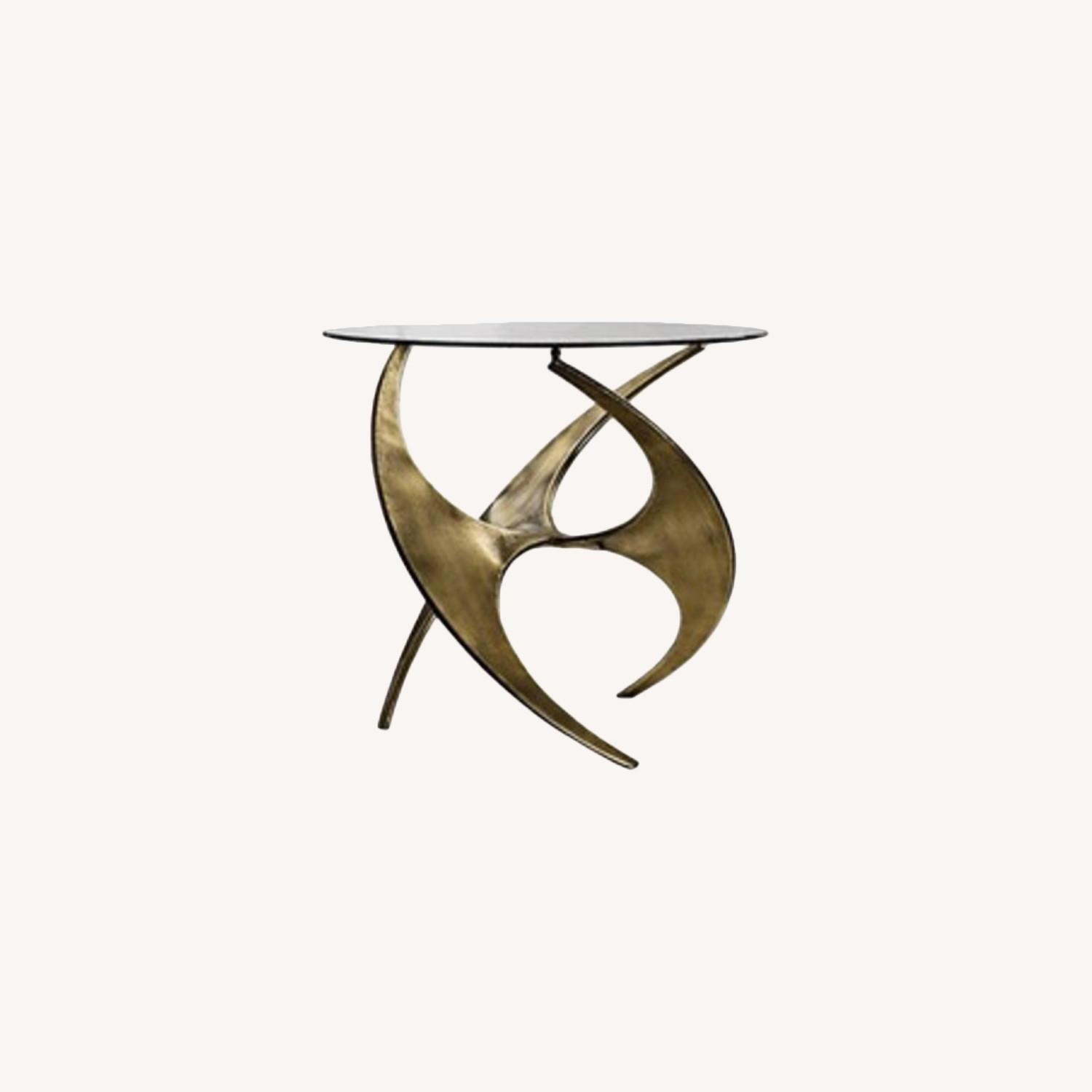 Graciano Antique Gold Glass Accent Table - image-0