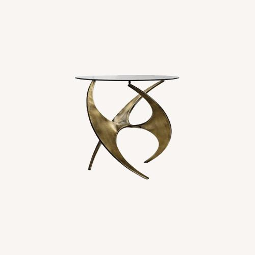 Used Graciano Antique Gold Glass Accent Table for sale on AptDeco