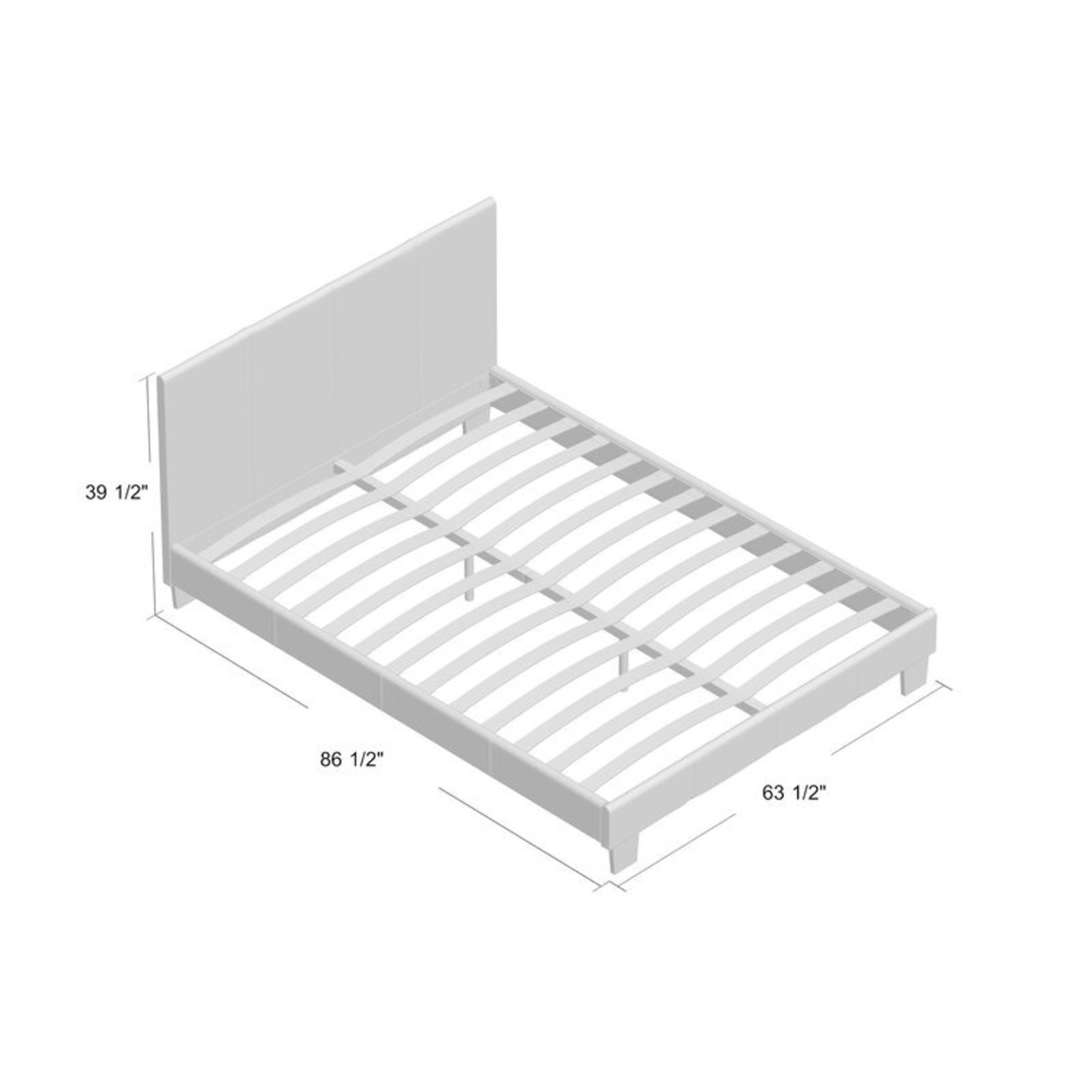 Queen Brown Leather Platform Bed with Slats - image-2