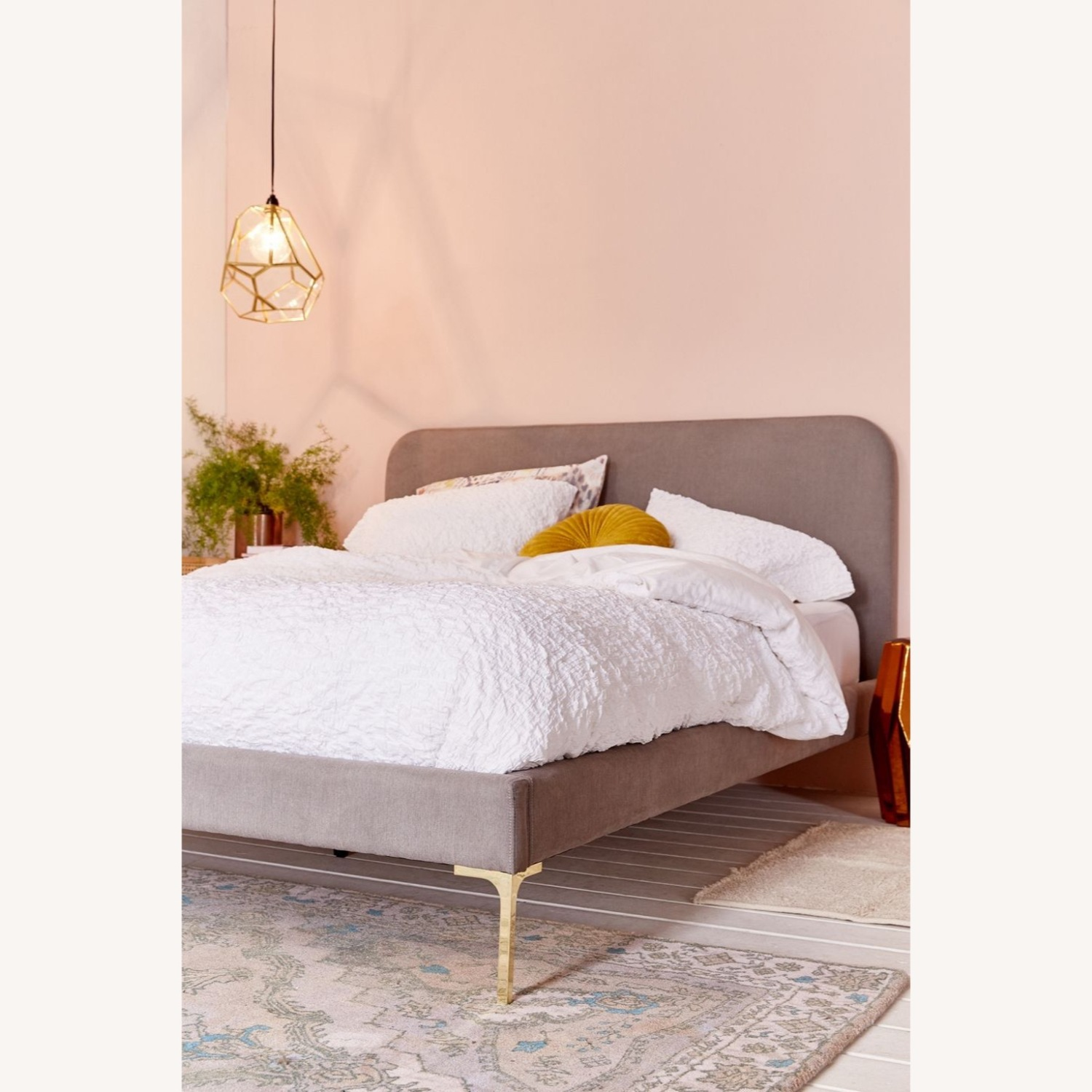 Urban Outfitters Luxe Queen Upholstered with Gold Feet - image-1