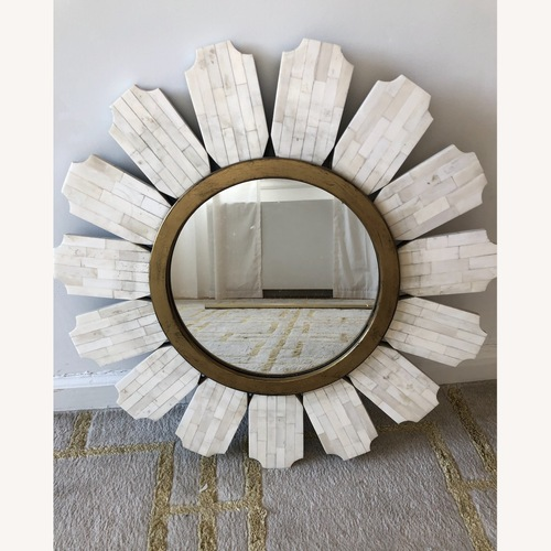 Used White and Gold Flower Mirror for sale on AptDeco