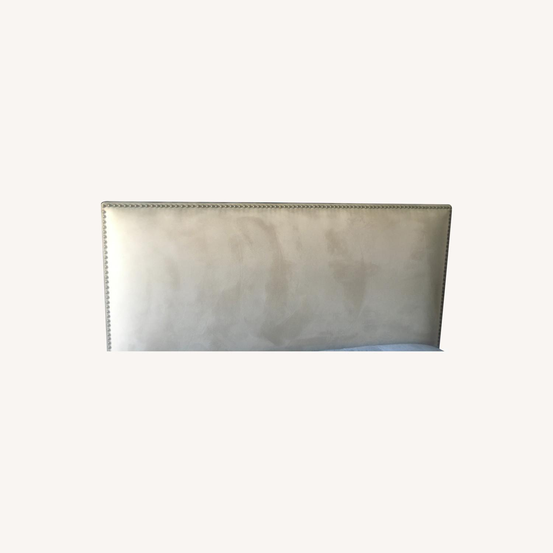Microsuede Headboard w/Metal Nail Button Trim - image-0