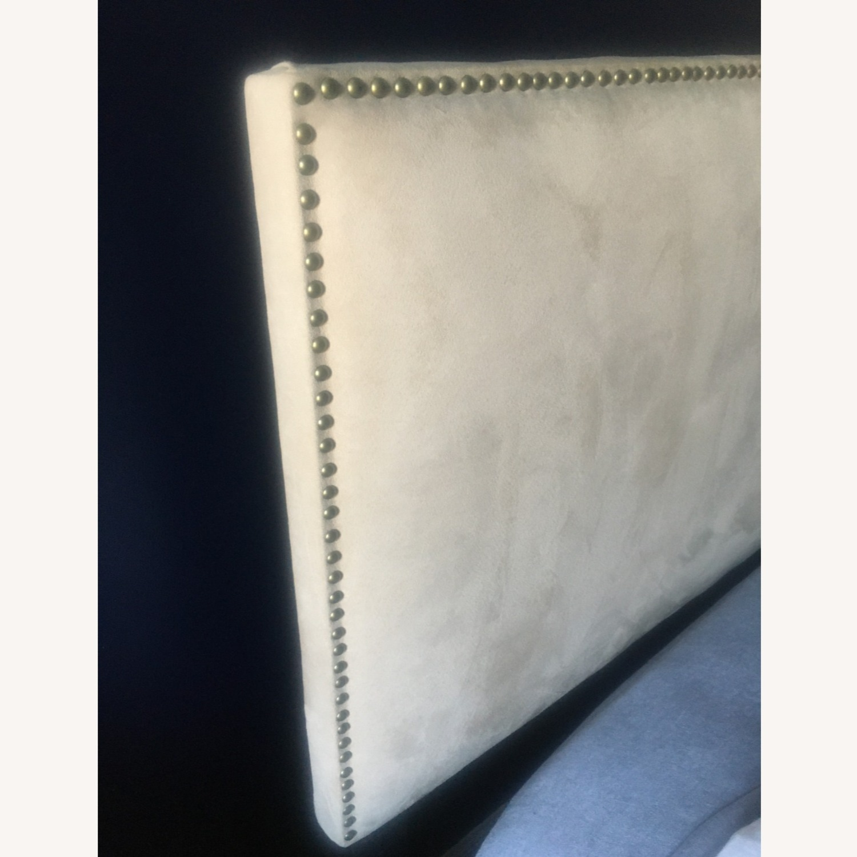 Microsuede Headboard w/Metal Nail Button Trim - image-2