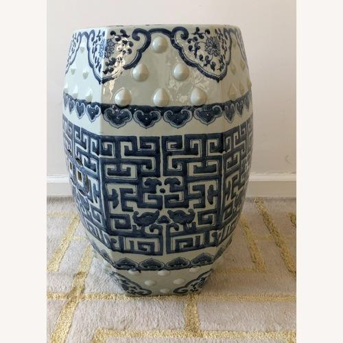 Used Safavieh Tao Blue/White Ceramic Garden Stool for sale on AptDeco