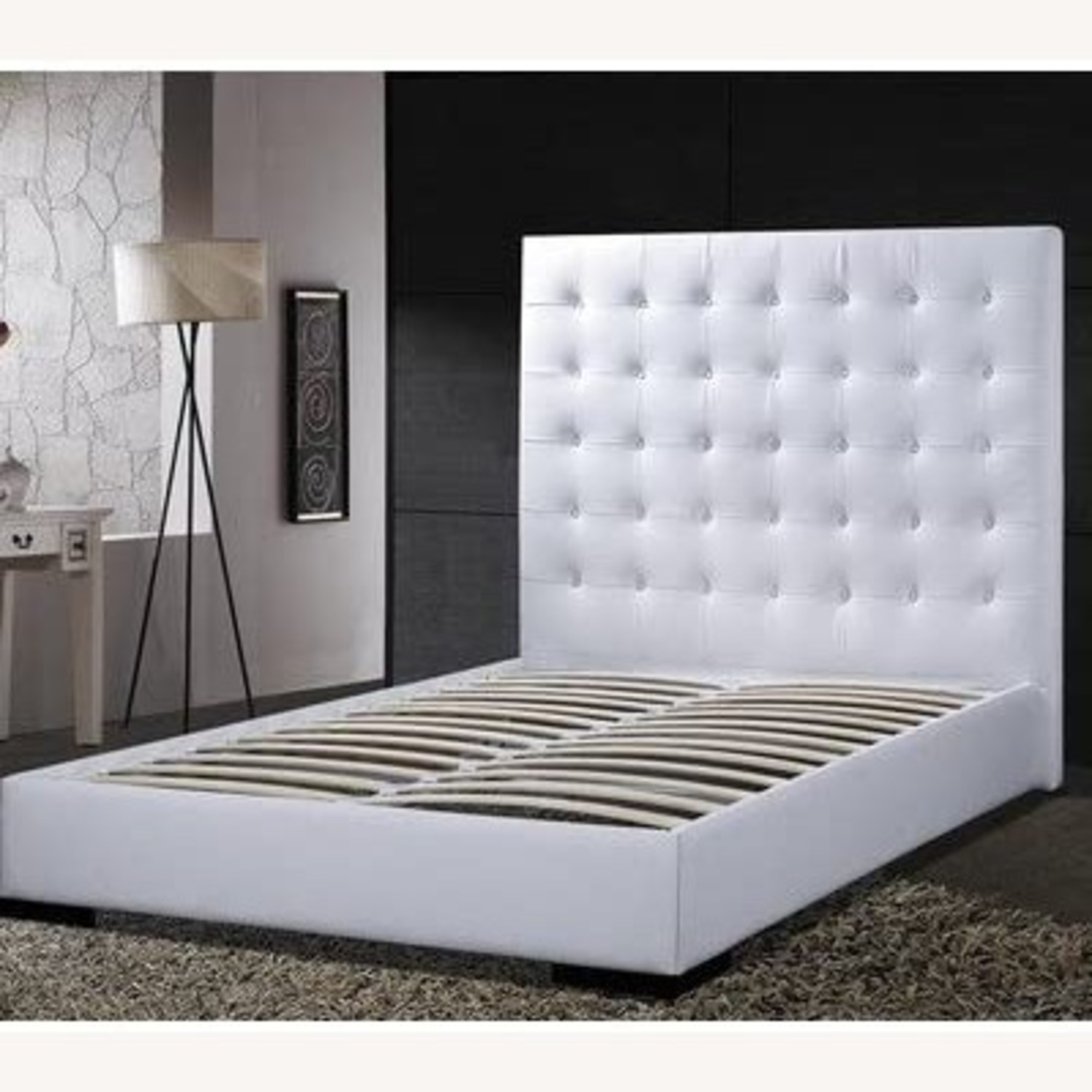 DG White Leather King Bed - image-2
