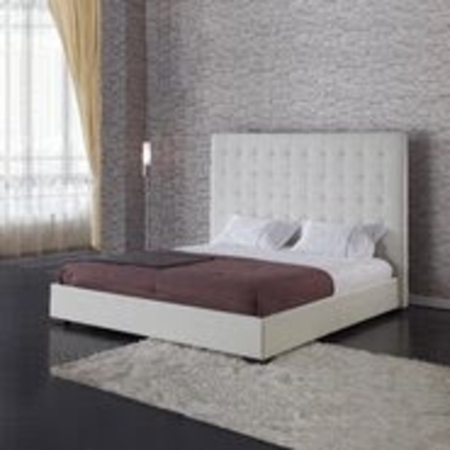 DG White Leather King Bed - image-3