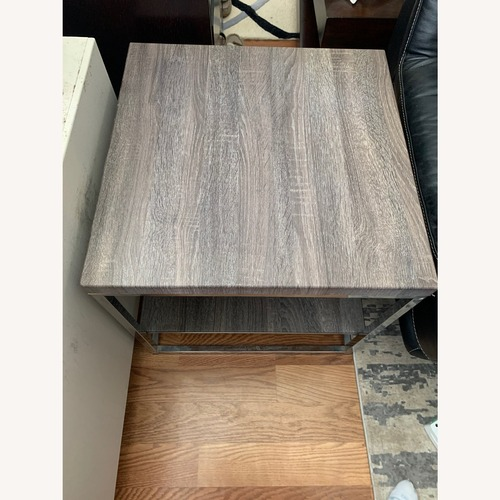 Used Rooms to Go Dark Grey Wood and Metal End Table for sale on AptDeco