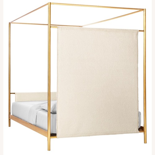 Used CB2 Odessa Shearling Canopy King Bed for sale on AptDeco