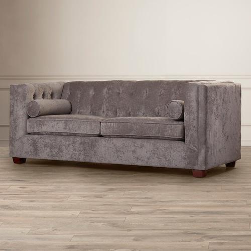 Used Dalila Velvet Tuxedo Arm Sofa In Grey for sale on AptDeco