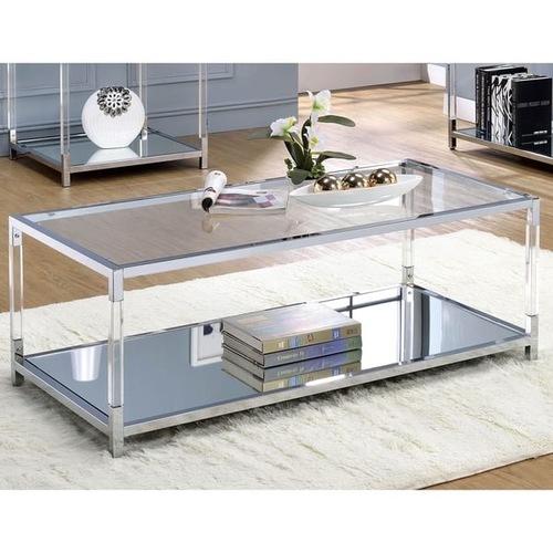 Used Furniture of America Chrome Metal Coffee Table for sale on AptDeco