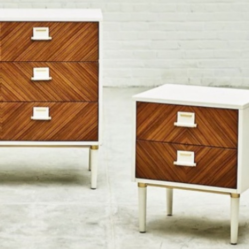 Used Anthropologie Geo Marquetry Nightstand for sale on AptDeco