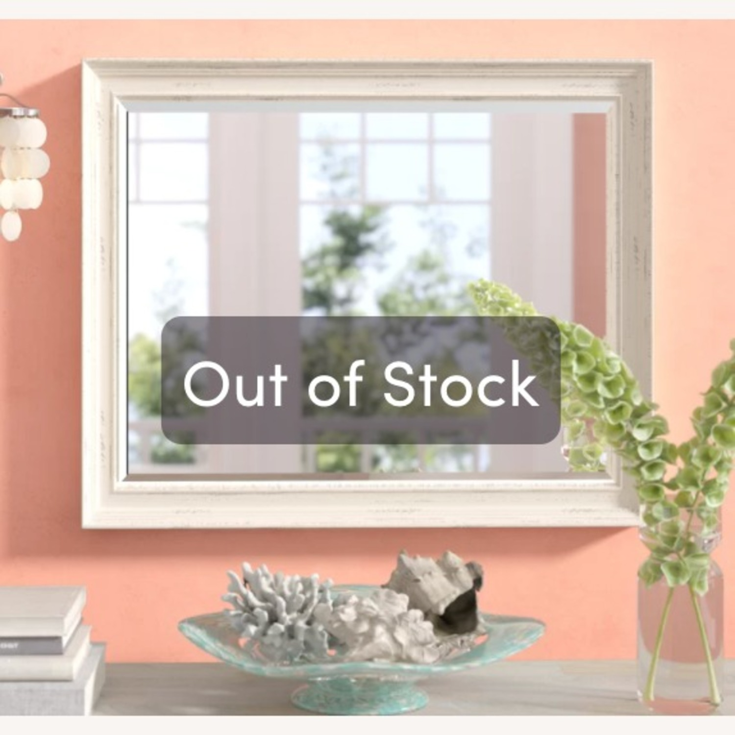 Wayfair White Speckled Wood Wall Mirror - image-2