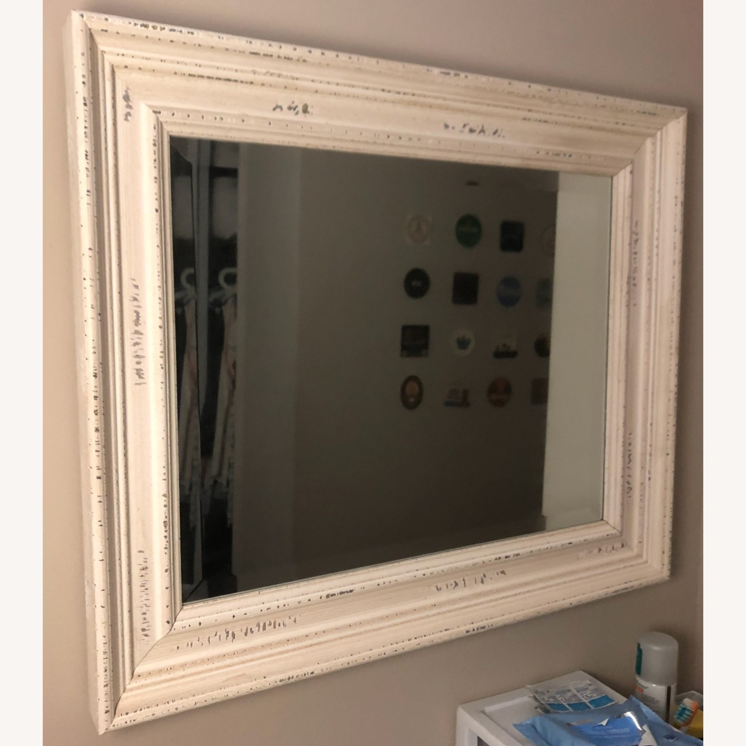 Wayfair White Speckled Wood Wall Mirror - image-1