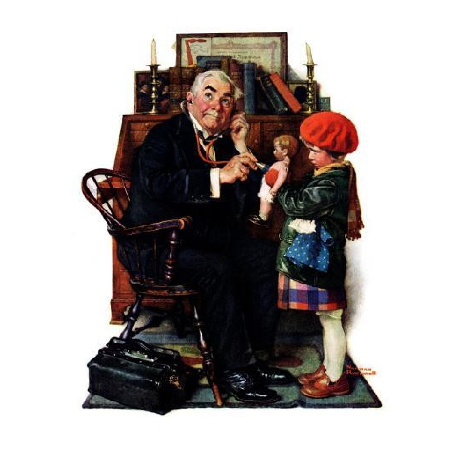 "Norman Rockwell ""Doctor and Doll"" Wall Art - image-0"