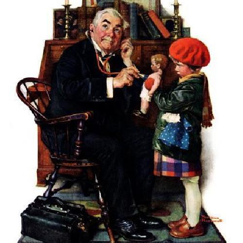 """Used Norman Rockwell """"Doctor and Doll"""" Wall Art for sale on AptDeco"""
