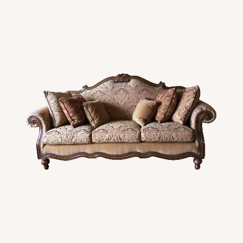 Used Thomasville Camelback Sofa with Wood Trim for sale on AptDeco