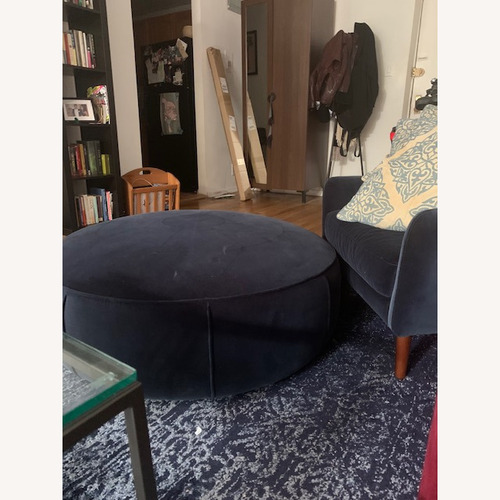Used Article Blue Velvet Circular Ottoman for sale on AptDeco