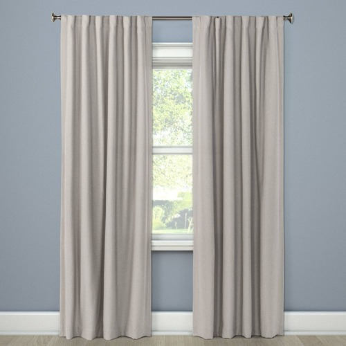 Used Plain Weave Gray Blackout Curtain Panels for sale on AptDeco