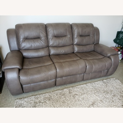 Used Gray Leatherette Sofa (Double Reclining) for sale on AptDeco