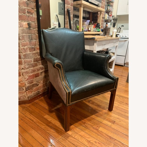 Used Vintage Green Contrast Leather Accent Chair for sale on AptDeco