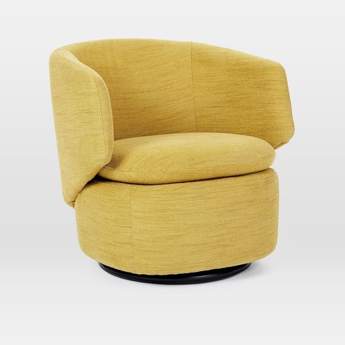 Used West Elm Crescent Swivel Chair DK Horseradish for sale on AptDeco