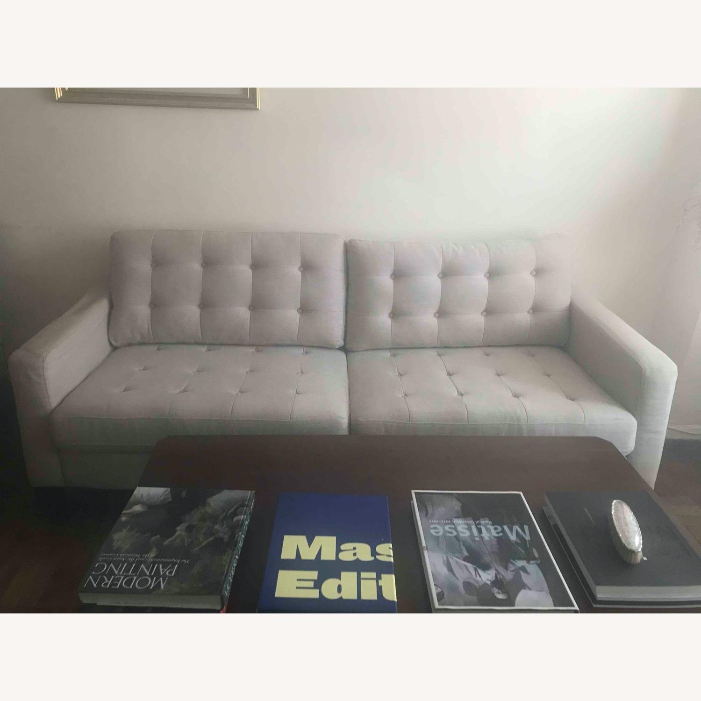 Pier 1 Imports Modern Sleek Light Grey Sofa - image-1